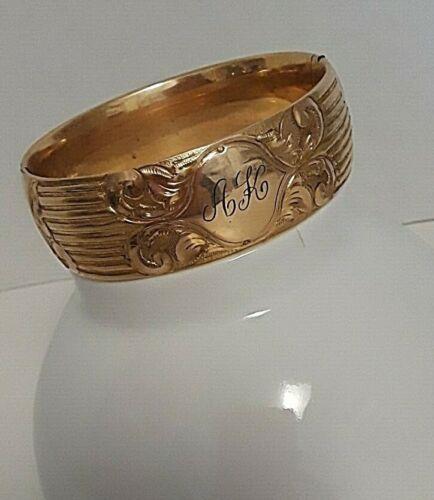 """Antique Victorian BRACELET Gold Filled Engraved P.G. Co MONOGRAMMED """"AK"""" 8 1/2"""