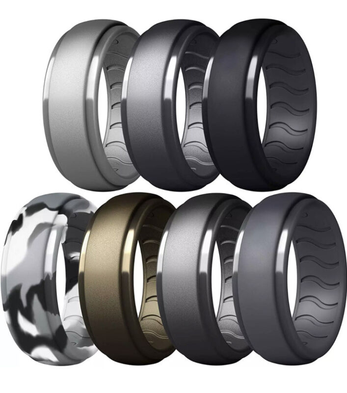 Breathable Silicone Wedding Ring  Rubber Band Working Man Pack Of 7. Size 11