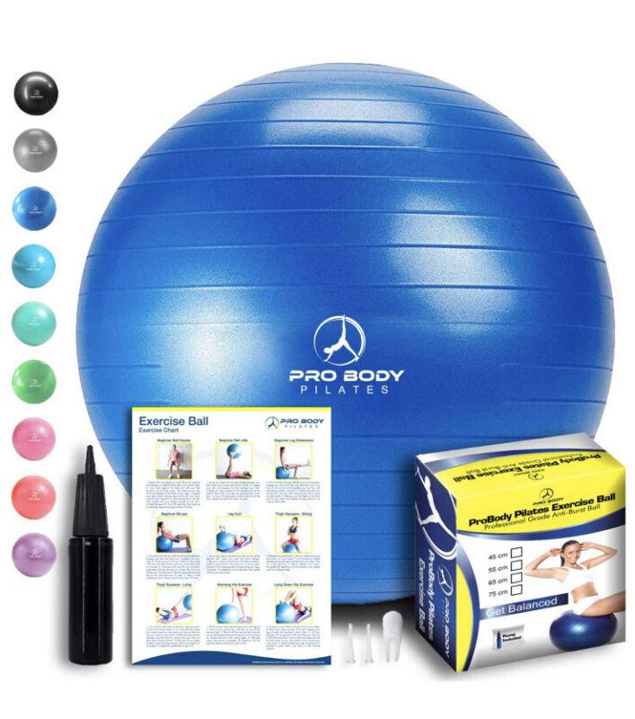 Pro Body Pilates Exercise Fitness Ball Core Strength Tone Balance Blue 55cm