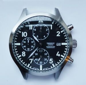 TRIDENT Supermarine Chronograph Pilot/Aviator new old stock to clear watch head.