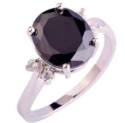 Silver Onyx Cocktail Ring Black Oval Cut CZ  Size 9 11 12 Simulated (Simulated Cocktail Ring)