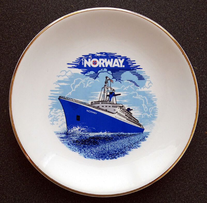 Vintage SS NORWAY / FRANCE Ship NORWEGIAN CRUISE LINE Plate ROYAL FALCON WARE