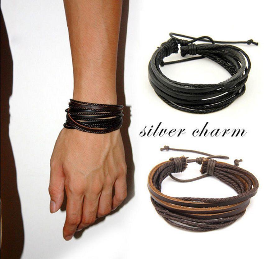 Men Boy Cool Surfer Tribal Wrap Multilayer Genuine Leather Cuff Bracelet Bangle;