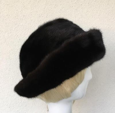 LUXE Black Genuine Finest Mink Fur Brim Versatile Hat New Handmade USA