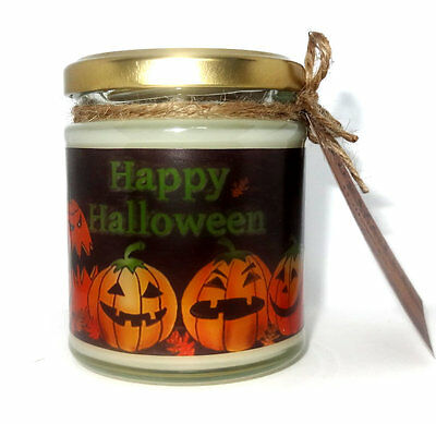 Happy Halloween design, Scented Jar Candle, ideal gift, Pagan, Wicca, Holidays