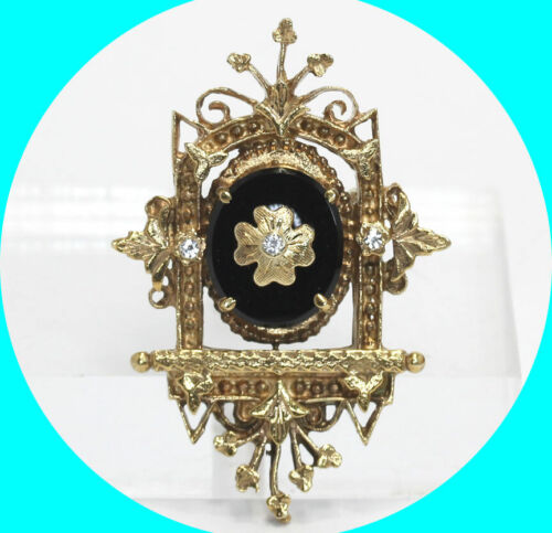 3.65CT Antique onyx pin brooch pendant 14K yellow gold detailed ornate CZ 11 gm