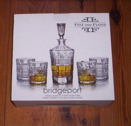 Fitz and Floyd 5 Piece DOF Whiskey Set  BRIDGEPORT   Decanter + 4 Tumblers  NIB