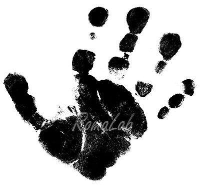 TIMBRO con BASE in LEGNO impronta della mano STAMP TIMBRI per SCRAPBOOKING