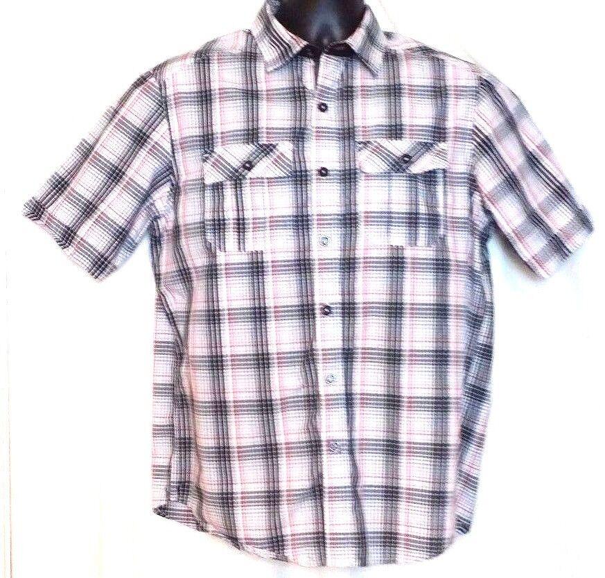 sean john multi color plaid cotton blend short sleeve shirt size m