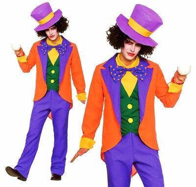 Mad Hatter Crazy (Adult MAD HATTER Crazy Wonderland Film Book Week Fancy Dress Costume Mens)