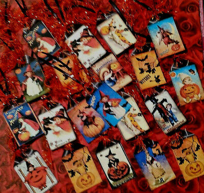 20 Vintage Halloween~Mini Gift Hang Tags~Scrapbooking~Card Craft Making  - Make Halloween Gift Tags
