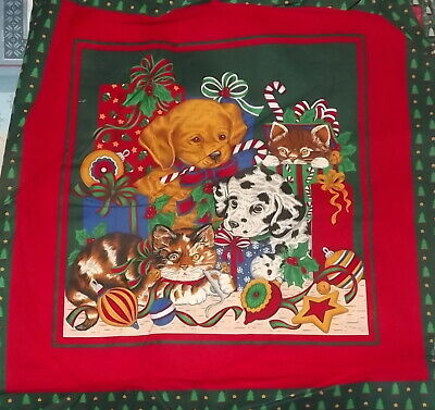 Quilt Fabric Christmas pillow panel Puppies and Kittens 14 1/2 x 15 ()