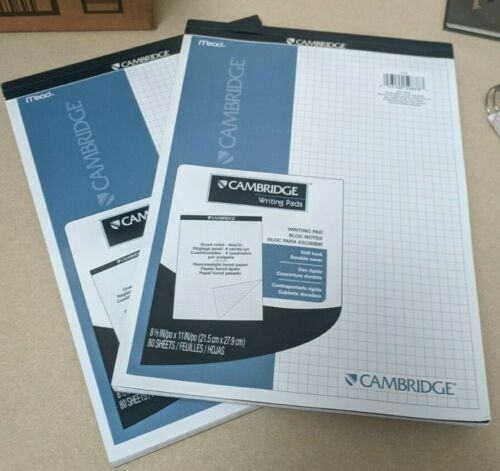 2- Cambridge Stiff-Back Quad Planning Pad (gridded paper)
