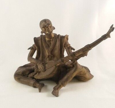 Vintage Metal Sculpture ISLAND AFRICAN AMERICAN NATIVE MAN Playing Mandolin
