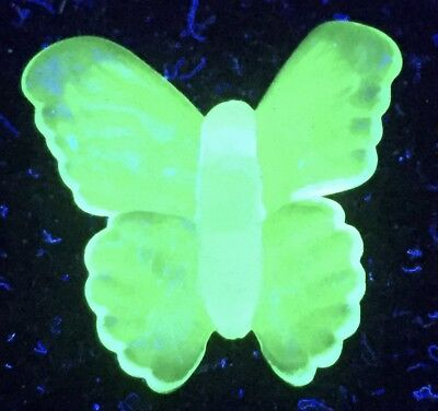 Blue Vaseline glass butterfly uranium figurine cobalt insect / monarch sculpture