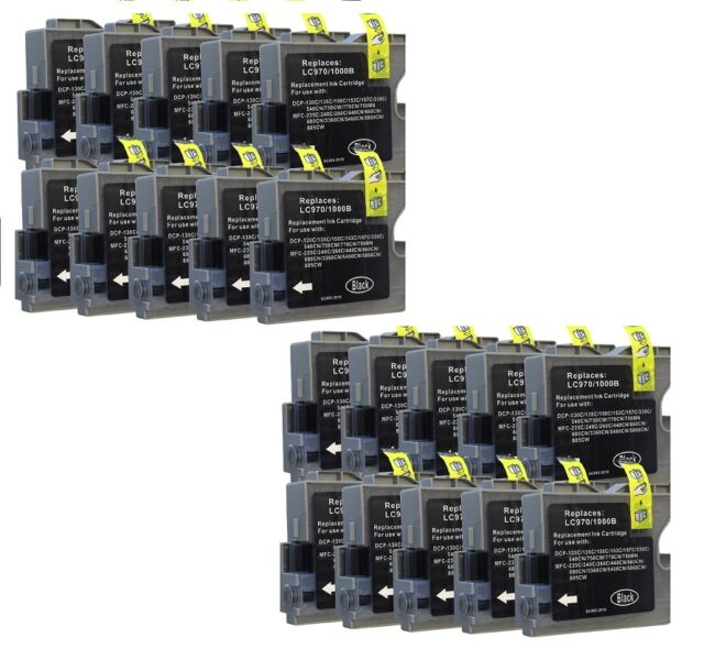 20 Print Cartridges for Brother MFC-235C MFC-240 DCP560CN DCP750CN LC1000 Black