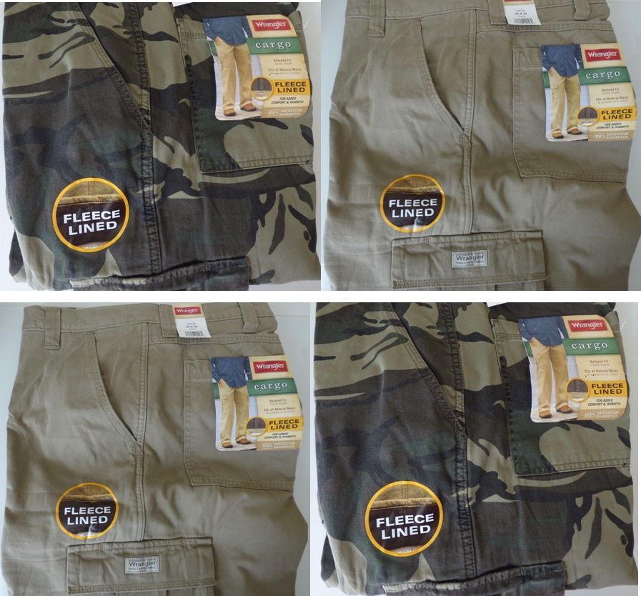 Wrangler Fleece Lined Cargo Pants For Work, Fishing, Hunt...
