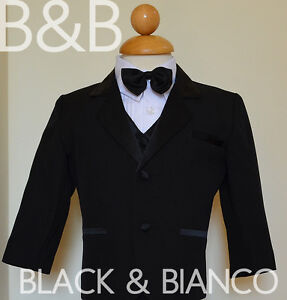 5PC-SET-KIDS-INFANT-BOY-CHILDREN-BLACK-TUXEDO-FORMAL-SUIT-BOW-TIE-Size-S-14
