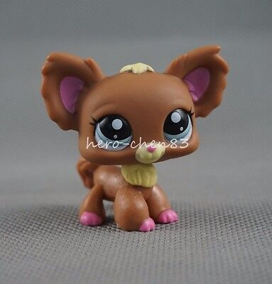 Littlest Pet Shop LPS Brown Pink Chihuahua Dog Puppy Blue Eyes #1623 Girl Toys