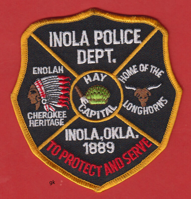 INOLA OKLAHOMA  POLICE SHOULDER PATCH CHEROKEE HERITAGE