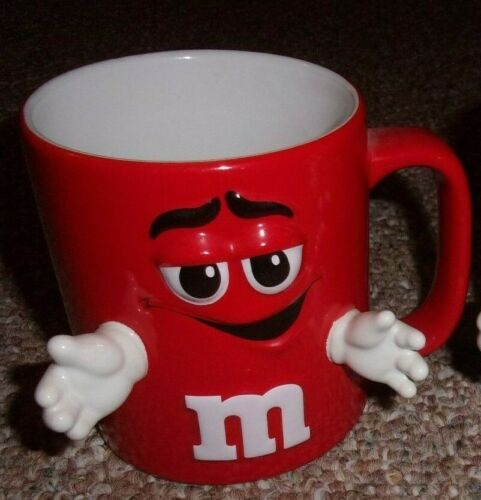 M&M - RED  3D MUG WITH  HANDS - FREE SHIP
