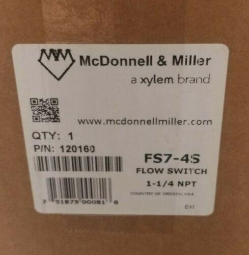 """McDonnell & Miller FS7-4S 1-1/4"""" MNPT SPDT Snap Flow Switch 120/240VA"""