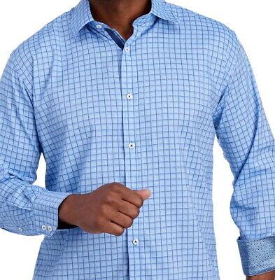 English Laundry Long Sleeve Shirt * Blue Grid Check Pattern XL Stretch NWT Grids Pattern Cotton Blends