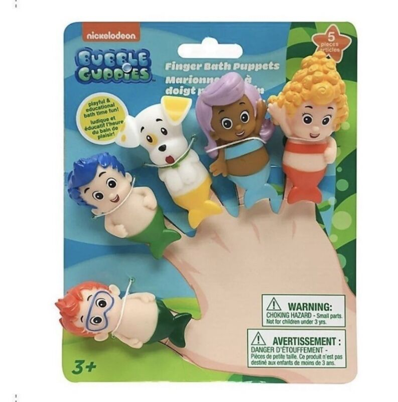 Nickelodeon Bubble Guppies Bath Time Finger Puppets Set Includes 5 Puppets