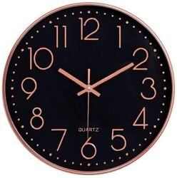 Wall Clock Large Silent Non Ticking Rose Gold Black Home Office Decor Gift 12
