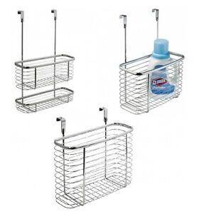 chrome basket caddy hook over door hanging storage shower. Black Bedroom Furniture Sets. Home Design Ideas