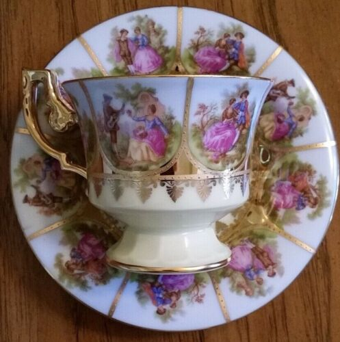 Vintage FRAGONARD LOVE STORY Hand-painted Cup & Saucer Western Germany