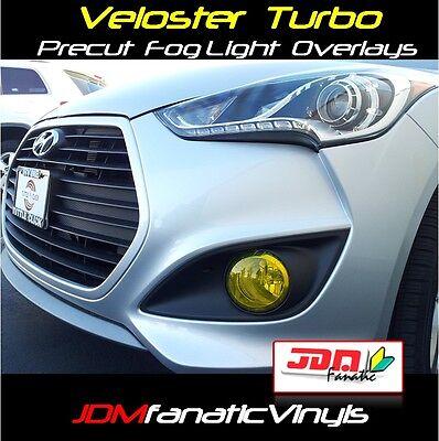 (13-17 Veloster TURBO Fog Light Overlays Yellow Tint Vinyl KDM Rally HID PRECUT)