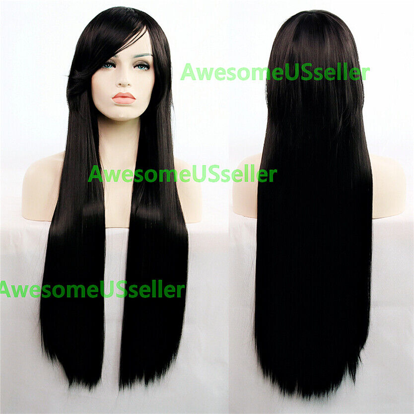 80cm Long Straight Women Cosplay Costume Party Hair Anime Wigs Full Hair Wig Black