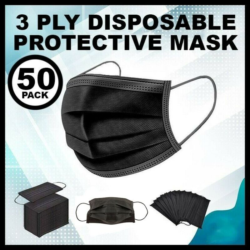 50 PCS BLACK Face Mask Mouth & Nose Protector Respirator Masks with Filter NEW