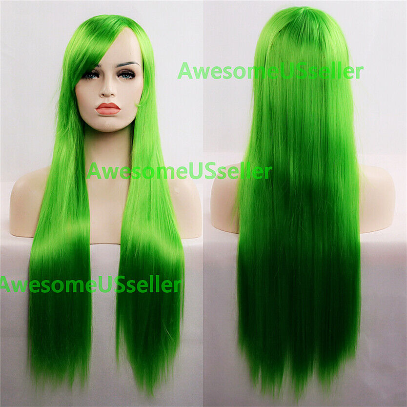80cm Long Straight Women Cosplay Costume Party Hair Anime Wigs Full Hair Wig Green