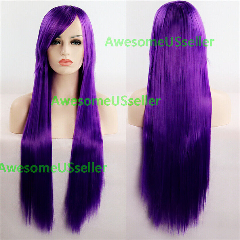 80cm Long Straight Women Cosplay Costume Party Hair Anime Wigs Full Hair Wig Purple