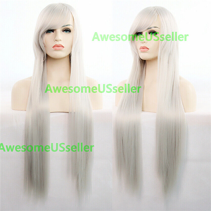 80cm Long Straight Women Cosplay Costume Party Hair Anime Wigs Full Hair Wig Silver