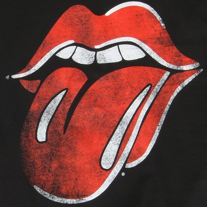 New: THE ROLLING STONES - Tongue (DISTRESSED) (Black) Rock Concert T-Shirt