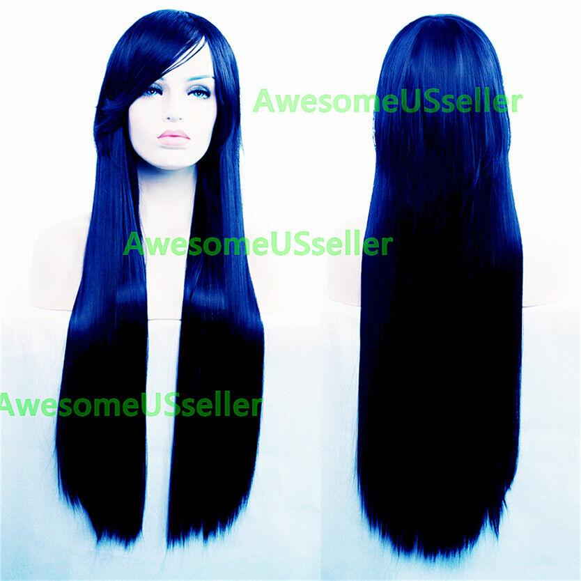 80cm Long Straight Women Cosplay Costume Party Hair Anime Wigs Full Hair Wig Dark Blue