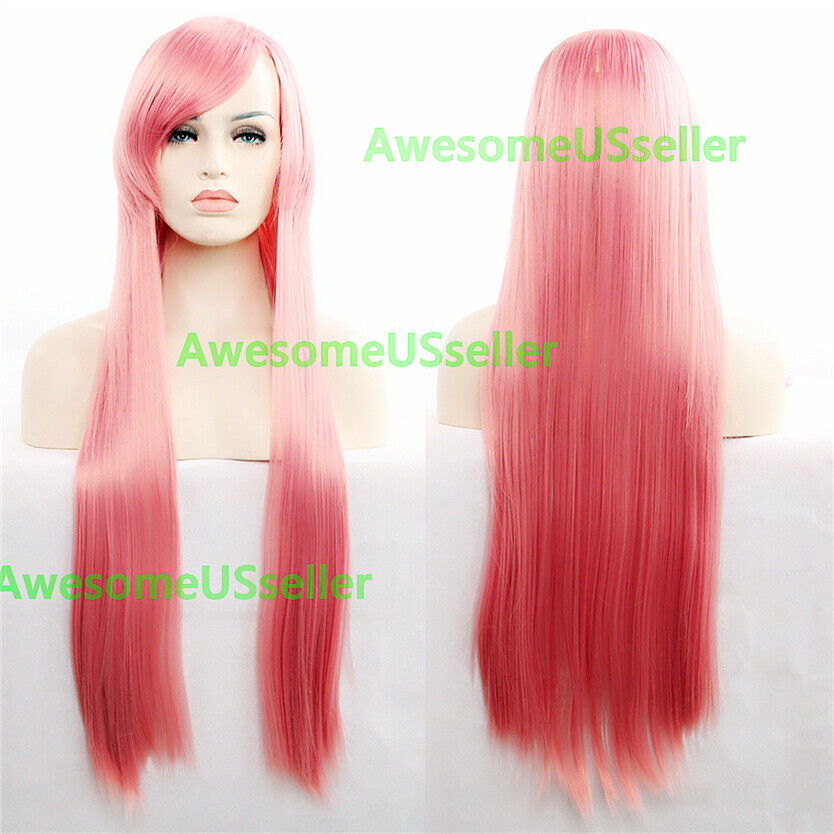 80cm Long Straight Women Cosplay Costume Party Hair Anime Wigs Full Hair Wig Pink
