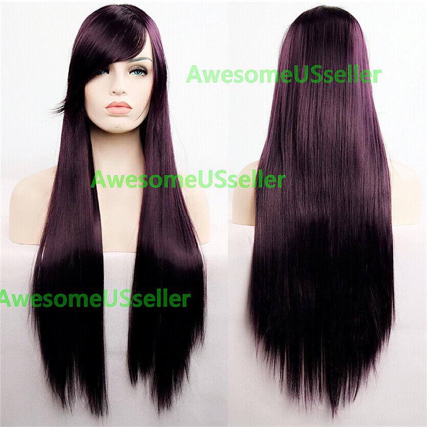 80cm Long Straight Women Cosplay Costume Party Hair Anime Wigs Full Hair Wig Dark Brown