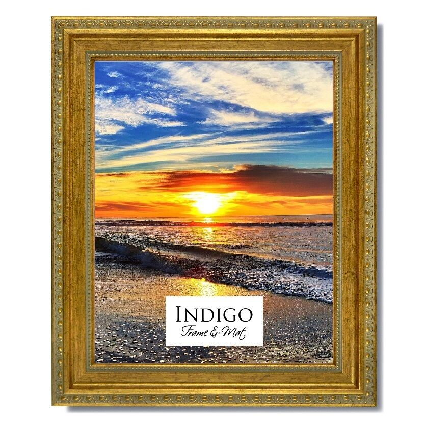 One 16x20 Ornate Gold Picture Frame, Glass & Backing