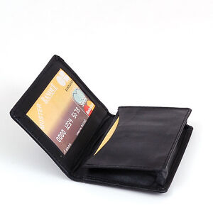 NEW Genuine Leather Expandable Credit Card ID Business Card Holder Wallet Black