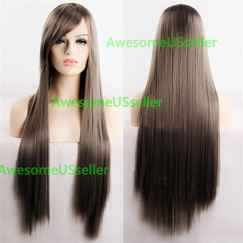 80cm Long Straight Women Cosplay Costume Party Hair Anime Wigs Full Hair Wig Gray
