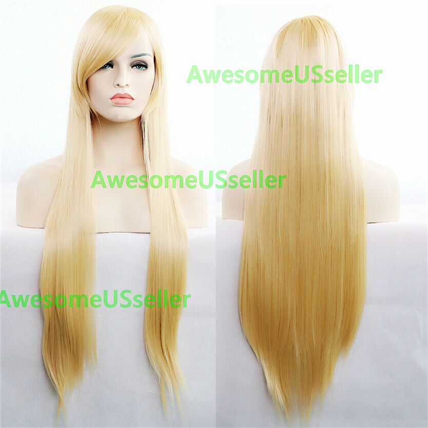 80cm Long Straight Women Cosplay Costume Party Hair Anime Wigs Full Hair Wig Gold