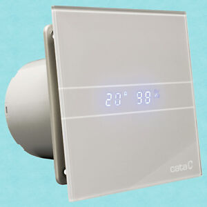 Cata E100GSTH Grey Glass Vent Extraction Fan 100mm With Humidistat Timer