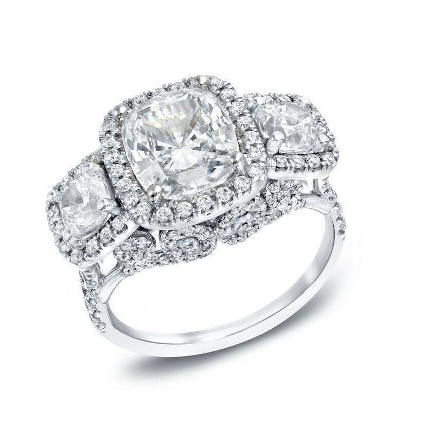 GIA Certified Diamond Engagement Ring 2.57 CTW Cushion Cut Halo Style 18K Gold