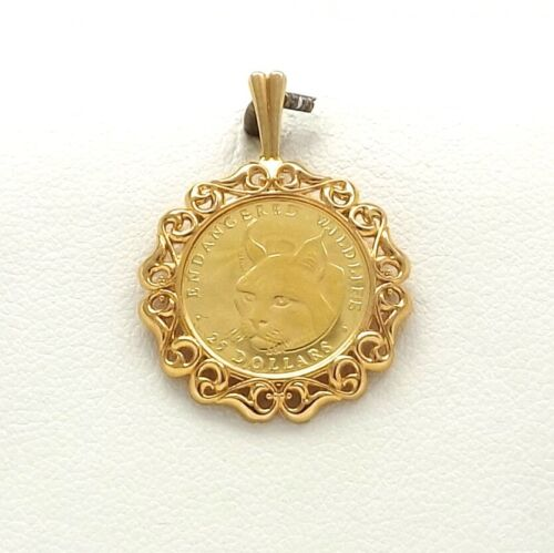 1990 Endangered Wildlife Cook Islands 999 Gold Coin 14k Frame Charm Pendant