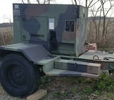 2010 Mep804b 15kw Diesel Quiet Generator Low 98 Hours 60hz Military W Trailer