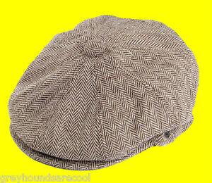 Mens-Brown-Flat-Cap-Newsboy-Baker-Boy-Gatsby-Jaxon-Herringbone-8-Panel-S-M-L-XL